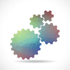 Polygonal cogs (gears) on white background