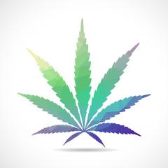 Cannabis leaf, polygonal illustration