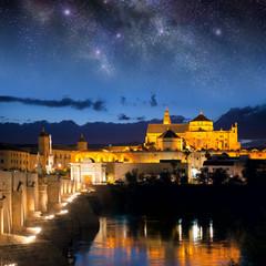 Roman Bridge and Mosque (Mezquita)  at night, Spain, Europe