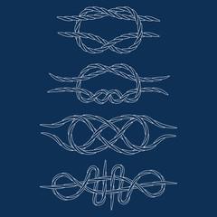 Knots. Contours. Doodle. Hand drawn. White. vector