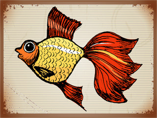 vintage background with goldfish