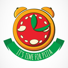 Tasty pizza with clock, design template. Vector illustration. Co