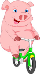 cute pig cartoon bike ride