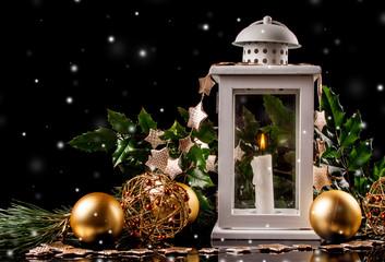 Christmas decoration lantern with burning candle