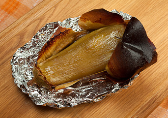 Fried eggplant in foil