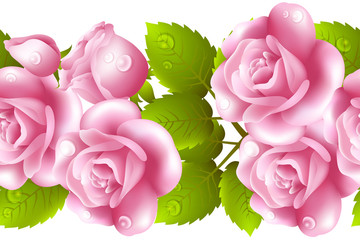 Vertical seamless background with roses.