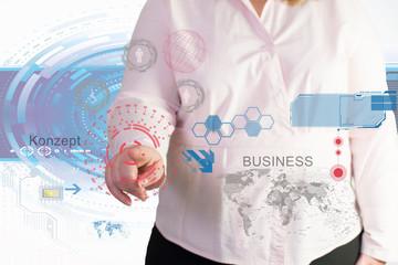 Businessfrau und die Technologie