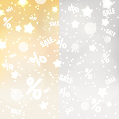abstract yellow and gray dots stars and sale background eps10