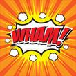 WHAM! wording in comic speech bubble in pop art style