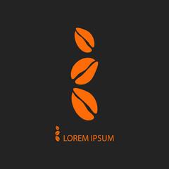 Three orange coffee beans as logo on black