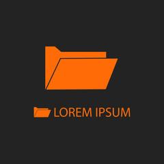 Orange computer folder as logo on black