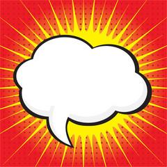 Blank comic speech bubble in pop art style on burst background