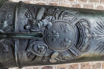 Old pig iron cannons decoration, Paris