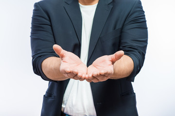 Empty opened hands of businessman