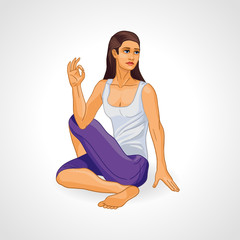 Vector illustration: girl in yoga pose, Ardha Matsiendrasana