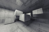 Fototapety Abstract concrete 3d interior with flying cubes