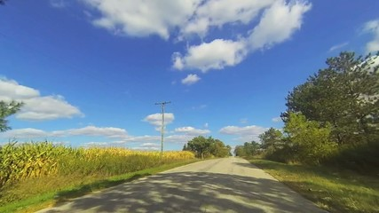 A point of view drive in the country in early fall