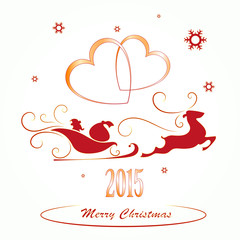 Merry Christmas background, Santa Claus in a sleigh , heart
