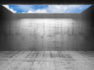 Abstract concrete 3d interior with sky in light portal