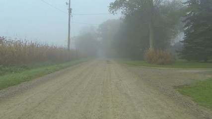 A point of view drive down a quiet road through fog