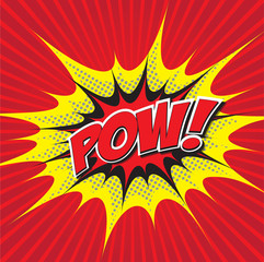 POW! wording comic speech bubble in pop art style