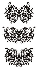 Tribal butterfly wings. Black on the white
