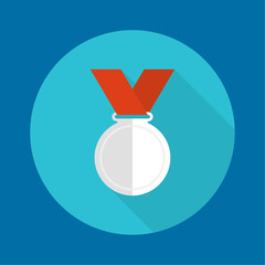 Silvermedal with red ribbon.