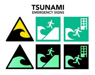 Tsunami symboles d'évacuation