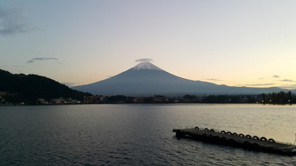 Mt.fuji view in evening time with hat on top