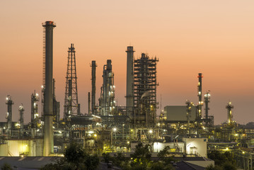Oil refinery in the evening