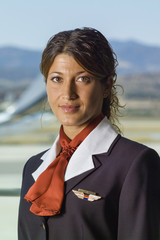 Italy, Sardinia, Olbia International Airport, flight stewardess