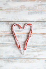 Candy canes in heart shape