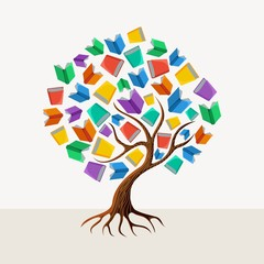 Education tree book concept illustration