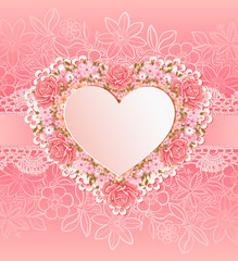 Greeting card with heart shape. Flowers