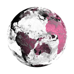Transparent pink globe with clouds, isolated on white.
