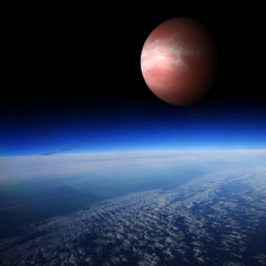 Red planet above the Earth. Are there other planets like Earth?