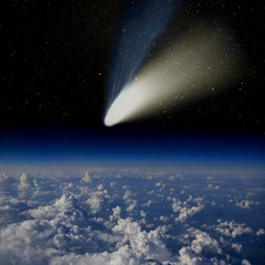 Comet impact. Comet Hale-Bopp above the Earth's surface.