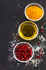 pink pepper with olive oil