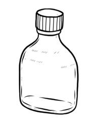 closed, little glass bottle
