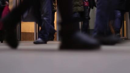 Disorderly crowd walking