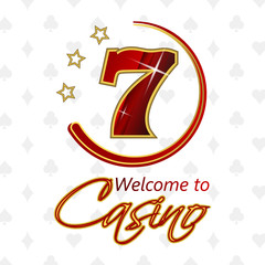 Casino background with lucky seven symbol and stars