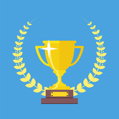 Champions Cup icon vector. Trophy icon. Trophy cup flat vector i