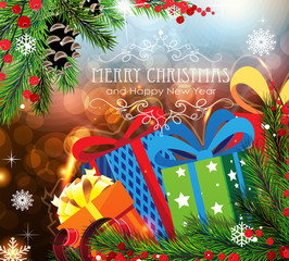 Christmas Gifts on sparkling background