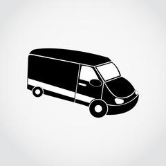 Black silhouette of van