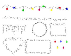 Collection of Multicolored lamp festive garland