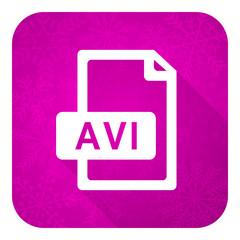 avi file violet flat icon, christmas button