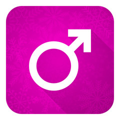 male violet flat icon, christmas button, male gender sign