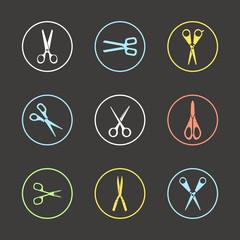Different types of scissors. Design elements