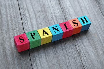 concept of spain word on colorful wooden cubes