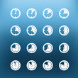 White clock icons clip-art on color background